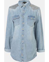 Topshop Maternity Lionel Studded Denim Shirt - Lyst
