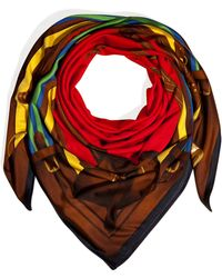 Ralph Lauren Collection | Silk Jersey Equestrian Bridle Print Scarf in Red | Lyst