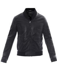 Dolce & Gabbana Leather Bomber Jacket - Lyst