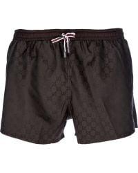 Gucci Monogram Swim Shorts black - Lyst