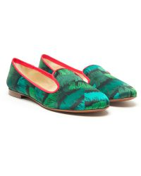 Avec Moderation Abstract Feather Flat green - Lyst