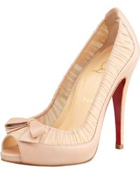 Christian Louboutin Angelique Chiffon Leather Red Sole Pump Nude - Lyst