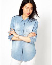 IRO Oversized Shirt in Washed Denim - Lyst