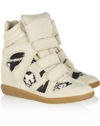 Isabel Marant The Bekett Printed Canvas and Suede Wedge Sneakers - Lyst