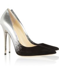 Jimmy Choo Anouk Degradé Metallic Leather And Suede Pumps silver - Lyst