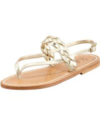 K. Jacques Pompei Braided Leather Slingback Flat Sandal Platinum - Lyst