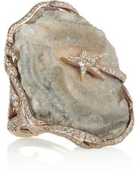 Lydia Courteille - Galaxy 18karat Rose Gold Diamond and Crystallized Agate Ring - Lyst