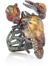 Lydia Courteille - Gardens Of Xochimilco 18karat Blackened Gold Multistone Ring - Lyst