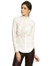 Ralph Lauren Blue Label Lace Ruffle Stretch Cotton Poplin Shirt - Lyst