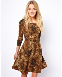Traffic People - Cheetah Print Skater Dress with Belt - Lyst 759644f62