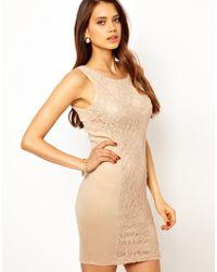 AX Paris Lace Panel Dress - Lyst