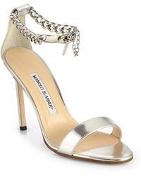 Manolo Blahnik Chaos Metallic Leather Ankle-Chain Sandals - Lyst