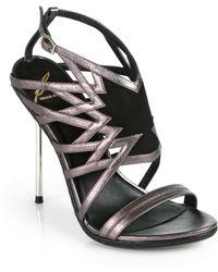 B Brian Atwood Marseille Artistic Metallic Leather Snakeskin Sandals - Lyst