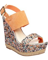 Betsey Johnson - Rambling Floral Printed Wedge Sandals - Lyst