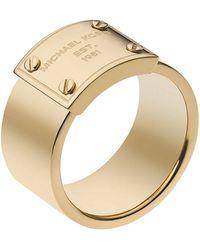 Michael Kors Goldtone Logo Plate Ring - Lyst