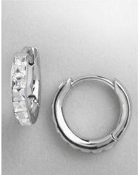 Nadri Small Crystal Hoop Earrings - Lyst