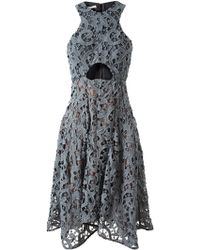 Carven Macrame Lace and Silk Dress - Lyst