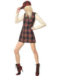 Fausto Puglisi Wool Crepe Wool Tartan Dress - Lyst