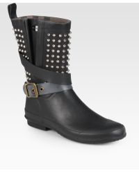 Burberry Holloway Studded Rubber Rain Boots - Lyst