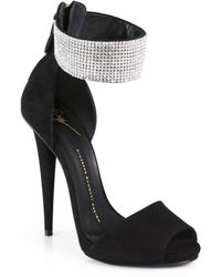 Giuseppe Zanotti Swarovski Crystal Suede Sandals - Lyst