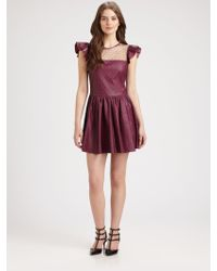 RED Valentino Lace Overlay Leather Dress - Lyst