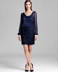 Aidan Mattox Lace Dress Long Sleeve - Lyst