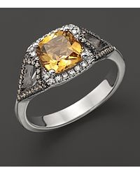 Badgley Mischka | Citrine Ring with White and Brown Diamonds | Lyst