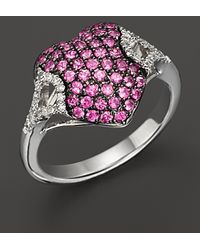 Badgley Mischka | Pink Sapphire And Diamond Pave Heart Ring | Lyst