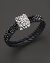 Charriol - Celtic Noir Collection Nautical Cable Ring with Diamonds 05 Ct Tw - Lyst