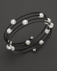 Charriol - Classique Black Pvd Wrap Bangle with Pearls - Lyst