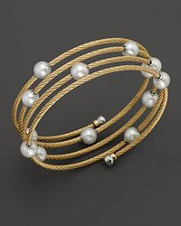 Charriol - Classique Yellow Pvd Wrap Bangle with Pearls - Lyst