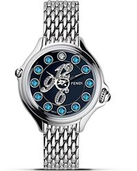 Fendi - Round Crazy Carats Diamond and Topaz Stainless Steel Watch 33mm - Lyst