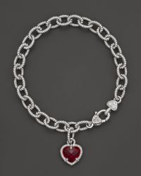 Judith Ripka - Sterling Silver Single Heart Charm Bracelet with Labcreated Red Corundum - Lyst