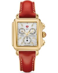 Michele - Red Leather Watch Strap 18mm - Lyst