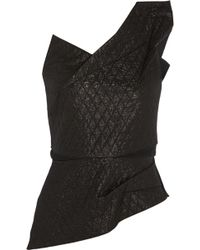 Roland Mouret Keiko Quilted Lamé and Stretch-crepe Top - Lyst