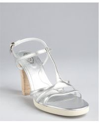 Tod's Silver Leather T-Strap Stacked Heel 'Sophie Stripes' Sandals - Lyst