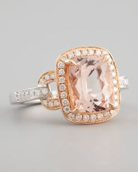 Frederic Sage - 18k Rose Gold Pave Diamond Morganite Ring - Lyst