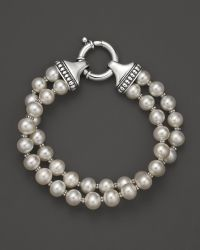 Lagos Sterling Silver Luna 2 Strand Pearl Bracelet - Lyst