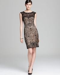 Sue Wong Lace Dress Cap Sleeve - Lyst
