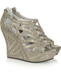 Camilla Skovgaard - Studded Metallic Suede and Leather Wedge Sandals - Lyst