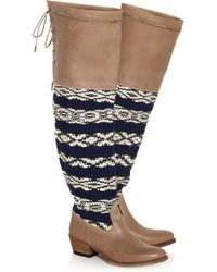 Cobra Society Zeus Wool and Leather Overtheknee Boots - Lyst
