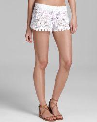 OndadeMar - Sea Of Whites Cotton Eyelet Shorts - Lyst