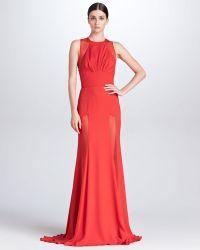 Elie Saab Sheerpanel Evening Gown Crimson - Lyst