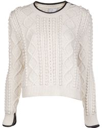 3.1 Phillip Lim Cropped Cable Knit Pullover - Lyst
