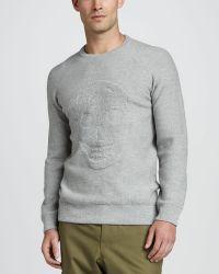 Alexander McQueen Textured Skull Sweater Gray - Lyst