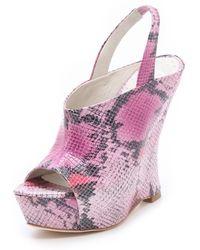 Alice + Olivia Denise Snake Wedge Sandals pink - Lyst