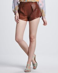 Clover Canyon - Pintuckfront Leather Shorts - Lyst