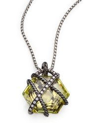 David Yurman - Cable Wrap Pendant With Lemon Citrine And Diamonds - Lyst
