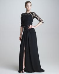 Elie Saab Gown with Beaded Illusion Lace - Lyst