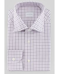 Ermenegildo Zegna Tattersal Plaid Dress Shirt Whitepurple - Lyst